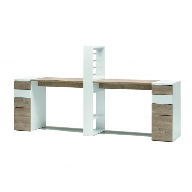 Tavolo - VICTOR doppio tavolo con cassettiera e mensola